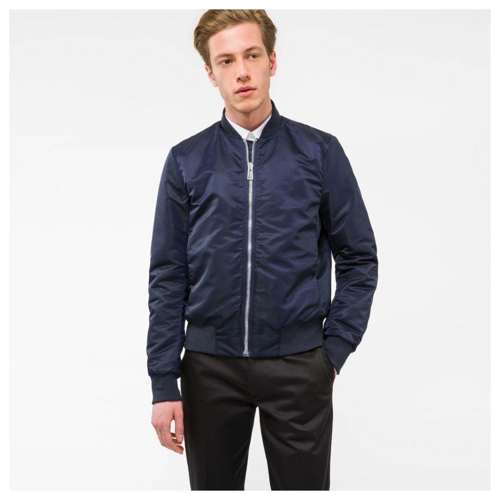 Men's Navy Bomber Jacket With Quilted Lining