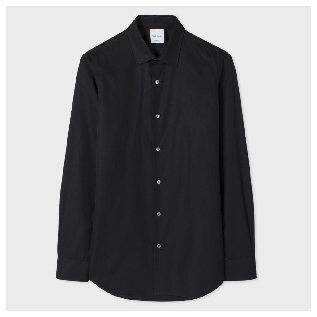 Men's Tailored-Fit Black Cotton 'Artist Stripe' Cuff Shirt