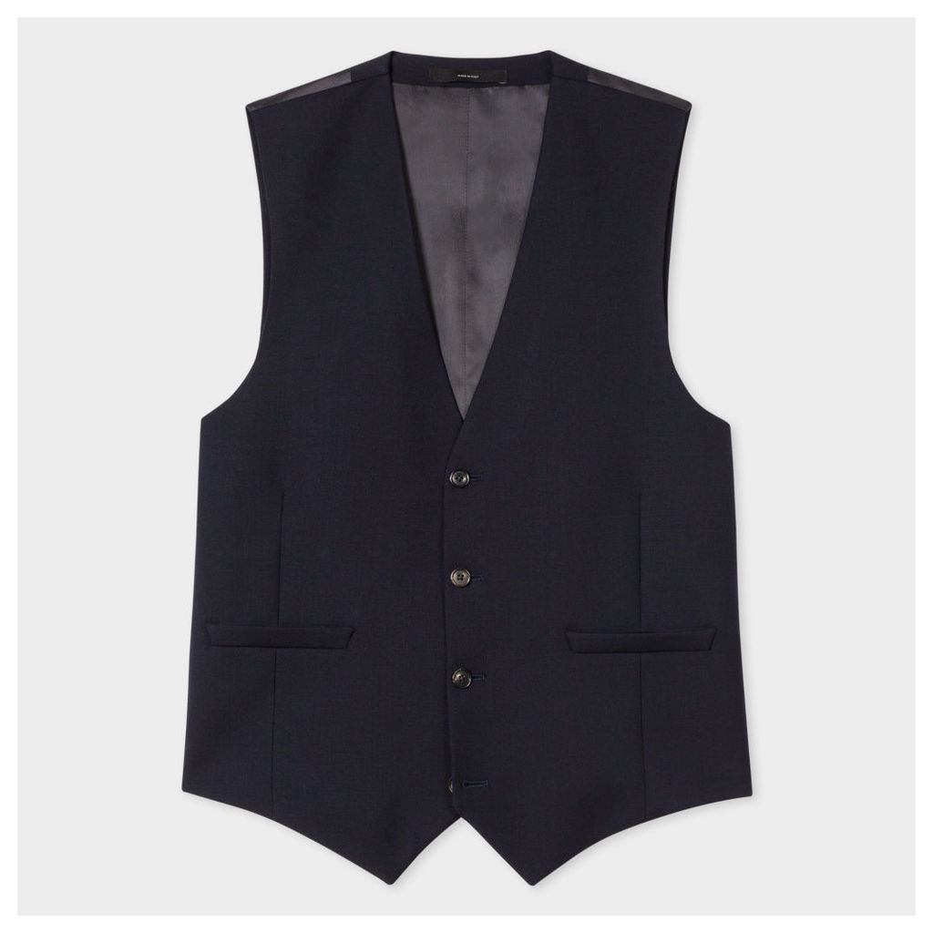 A Suit To Travel In - Men's Tailored-Fit Navy Wool Waistcoat