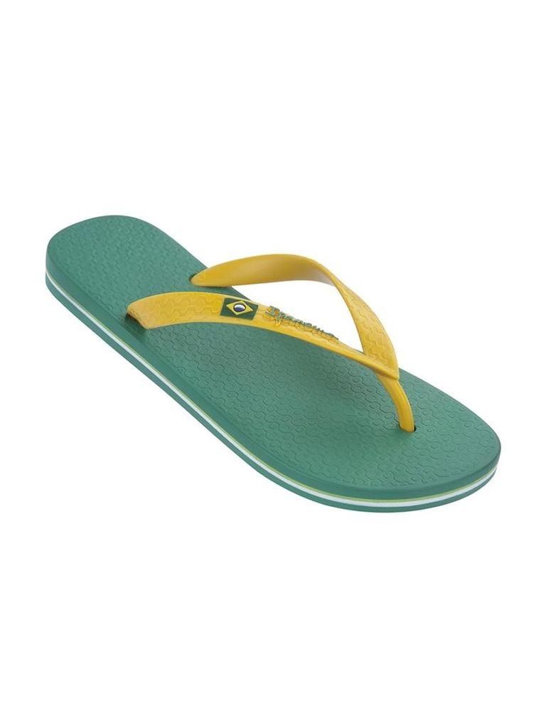 Ipanema Green and Yellow Male Flip Flops Classica Brasil II
