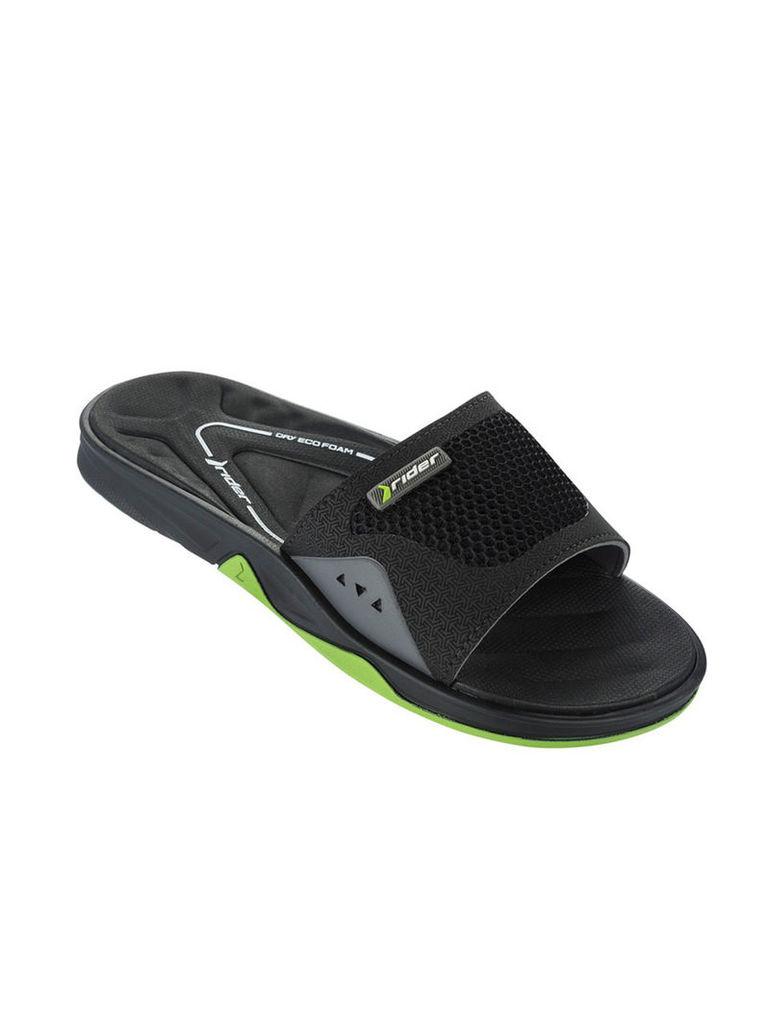 Rider Black and Green sandals Man Ventor Slide