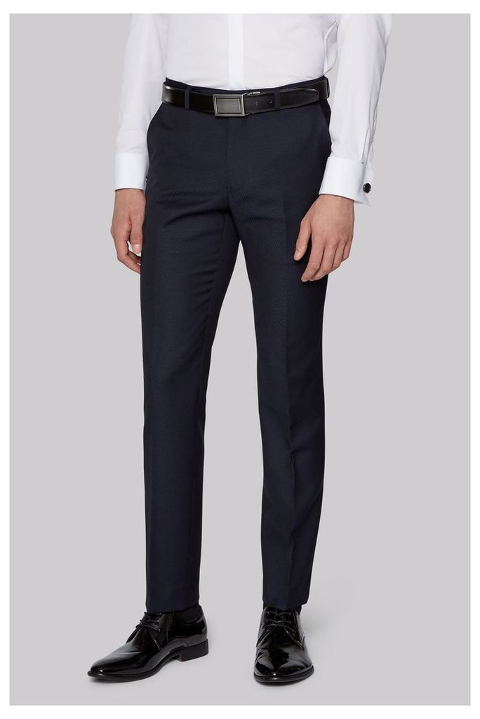 Moss London Slim Fit Navy Jacquard Trousers
