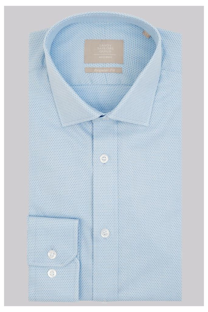 Savoy Taylors Guild Regular Fit Sky Single Cuff Textured Shirt