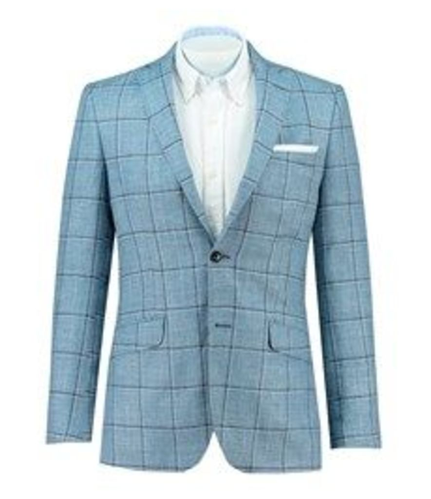 Men's Light Blue Windowpane Check Wool, Silk & Linen Blazer