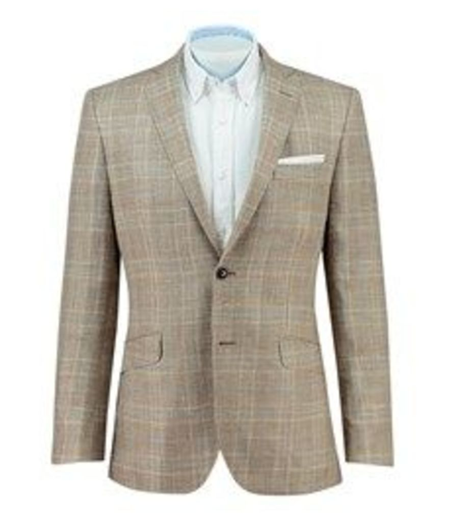 Men's Beige & Blue Prince of Wales Check Wool, Silk & Linen Blazer