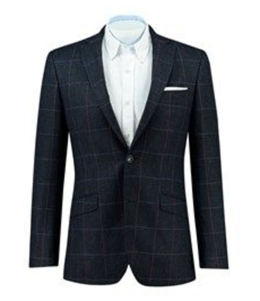 Men's Navy & Red Windowpane Check Wool, Cotton & Cashmere Blazer