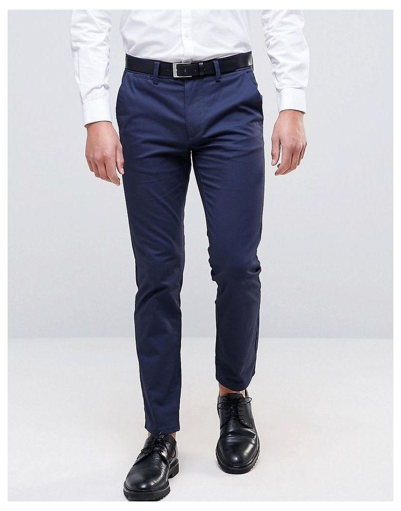 Burton Menswear Navy Slim Trousers with Stretch - Navy