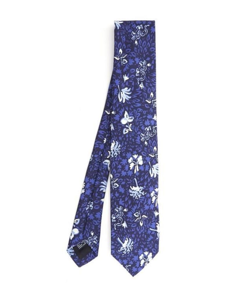 Elephant and Leaf Print Tie
