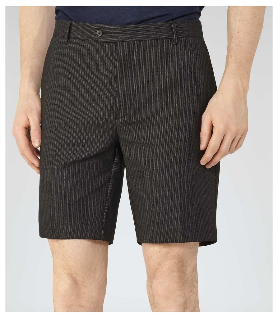 REISS Empire - Mens Fine Dot Shorts in Black