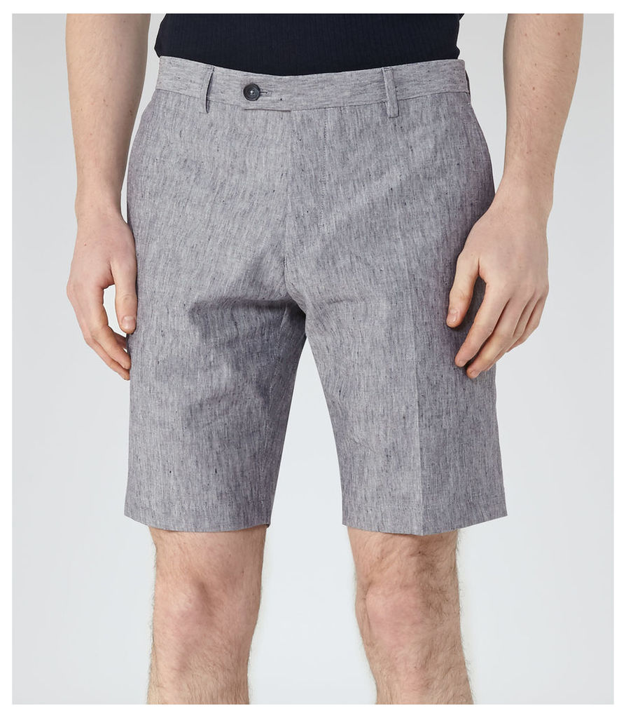 REISS Galoway - Mens Linen And Cotton Shorts in Blue