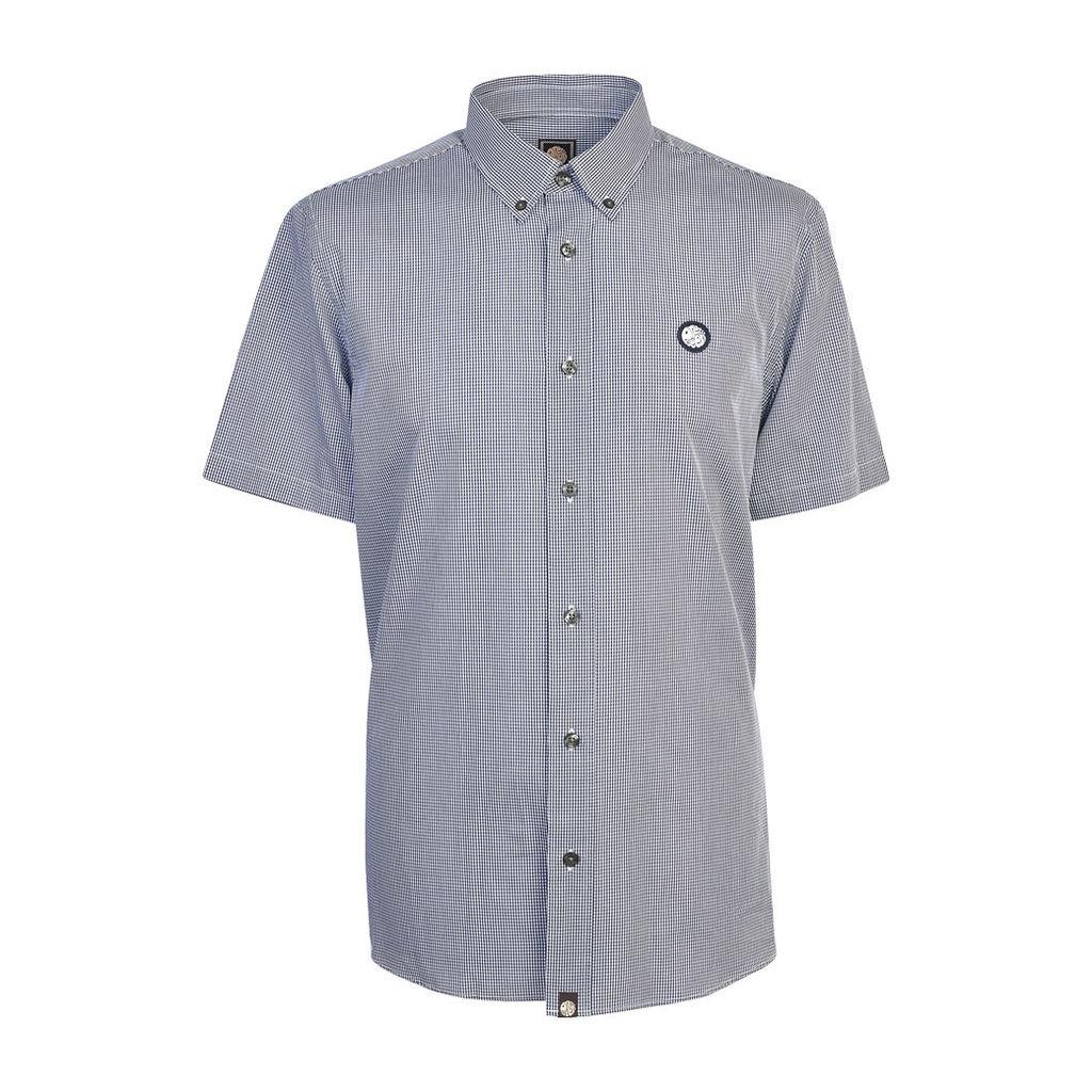 Pretty Green Men's Short Sleeve Glendale Gingham Shirt - Navy - L