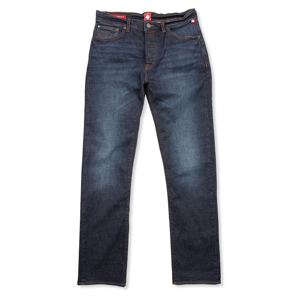 Pretty Green Men's Burnage Regular Fit Jeans - 6-Month Wash - 28W 30L