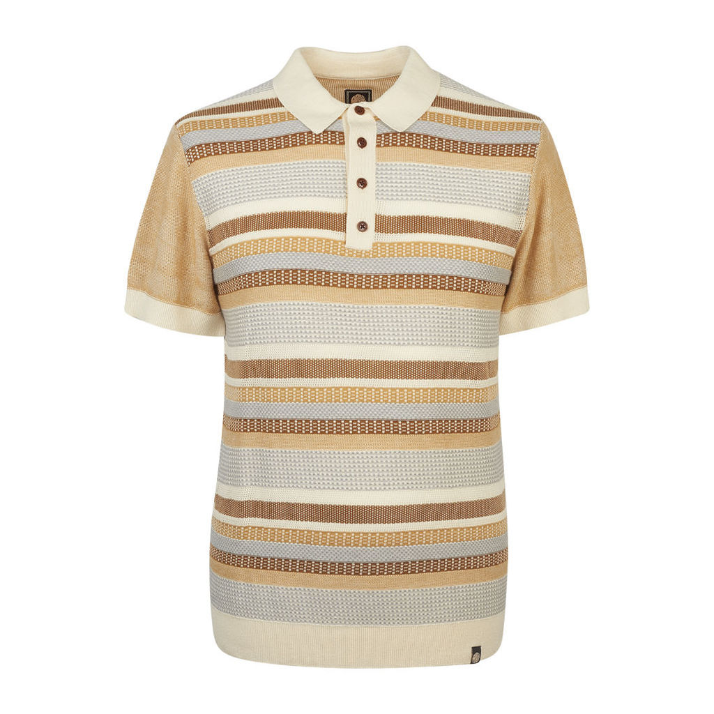 Pretty Green Men's Fortrose Knitted Polo - Stone - L