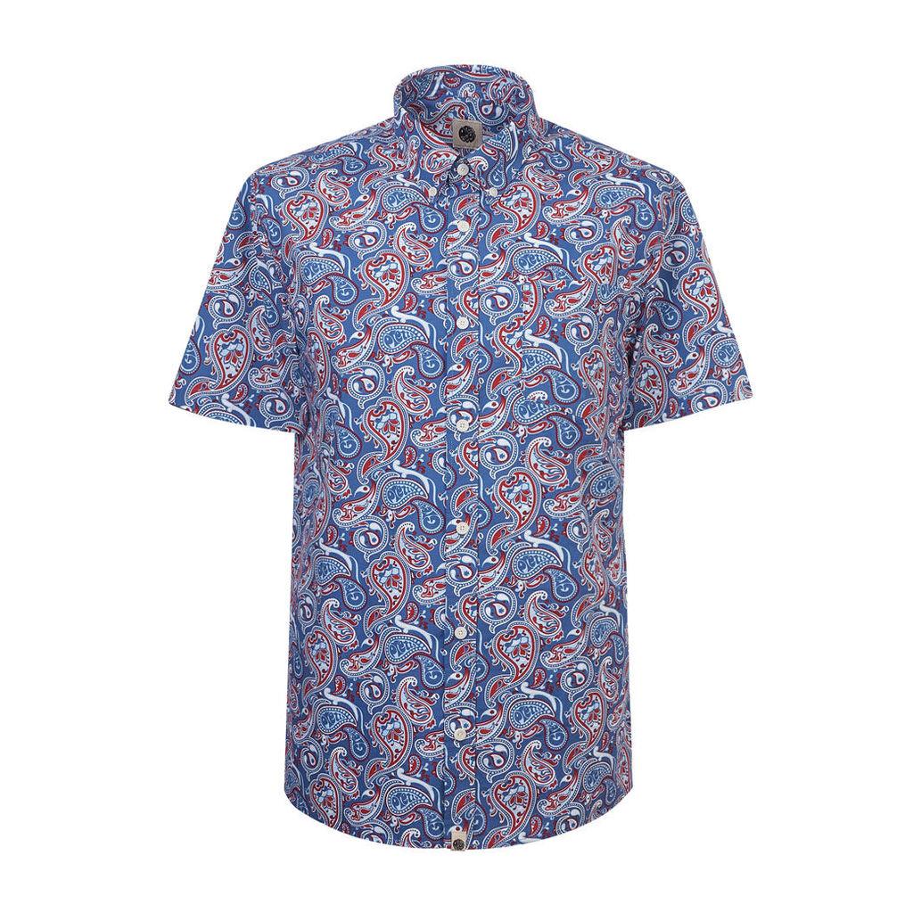 Pretty Green Men's Short Sleeve Camley Paisley Shirt - Blue - L