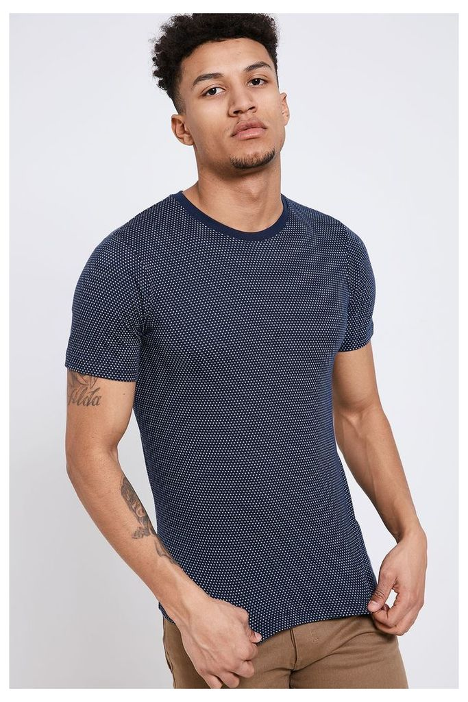 Jack & Jones Jacquard Spotted Crew Neck T-Shirt - Navy