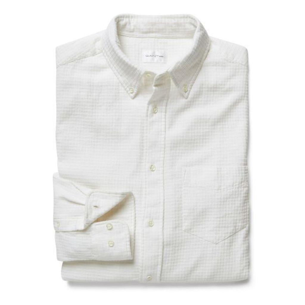 Dobby Checked Shirt - Offwhite