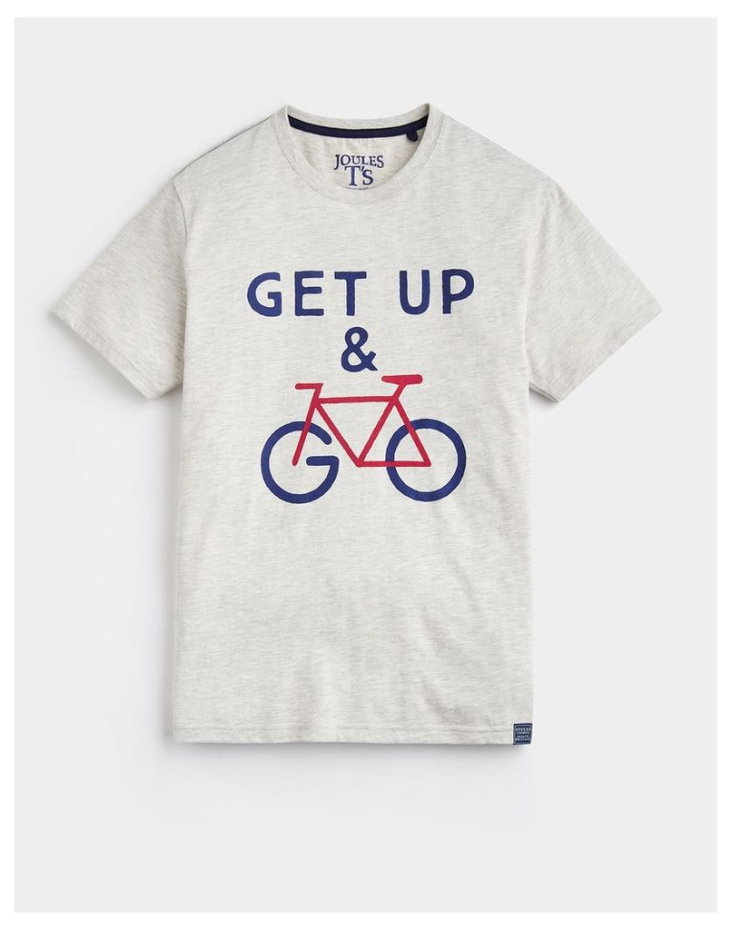 Cream Marl Graphic T-Shirt  Size L | Joules UK