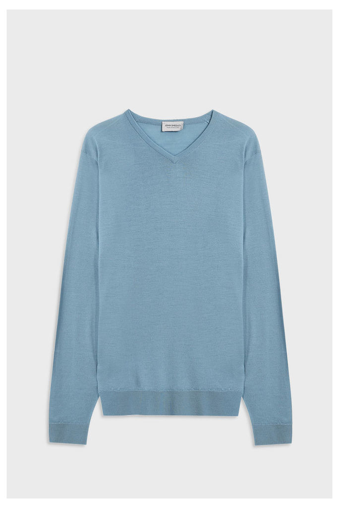 John Smedley Men`s Shipton V-neck Merino Wool Pullover Boutique1