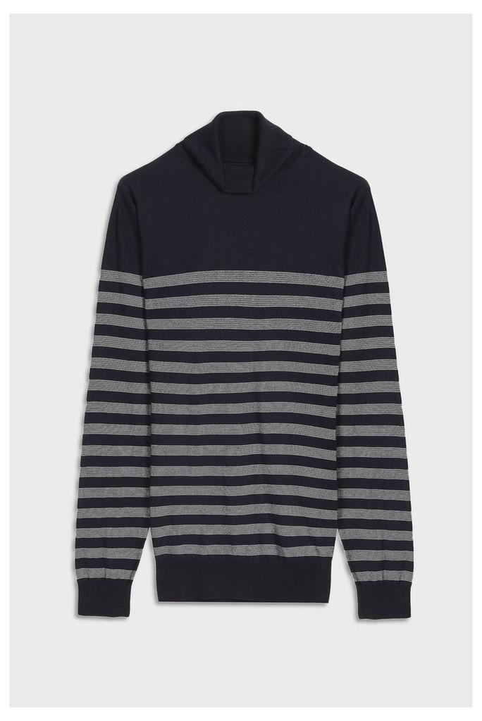 John Smedley Men`s Tenby Striped Cotton Pullover Boutique1