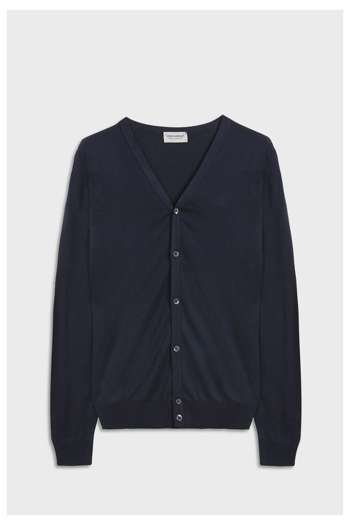 John Smedley Men`s Whitchurch V-neck Cotton Cardigan Boutique1
