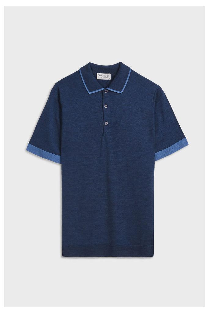 Men`s Nailsea Tipped Collar Merino Wool Polo Shirt