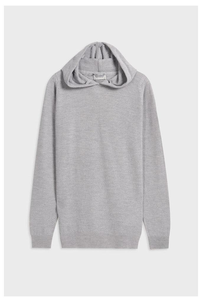 John Smedley Men`s Bardot Textured Merino Wool Hoodie Boutique1