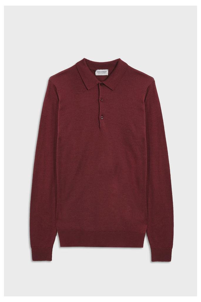 John Smedley Men`s Belper Long Sleeve Merino Wool Polo Shirt Boutique1