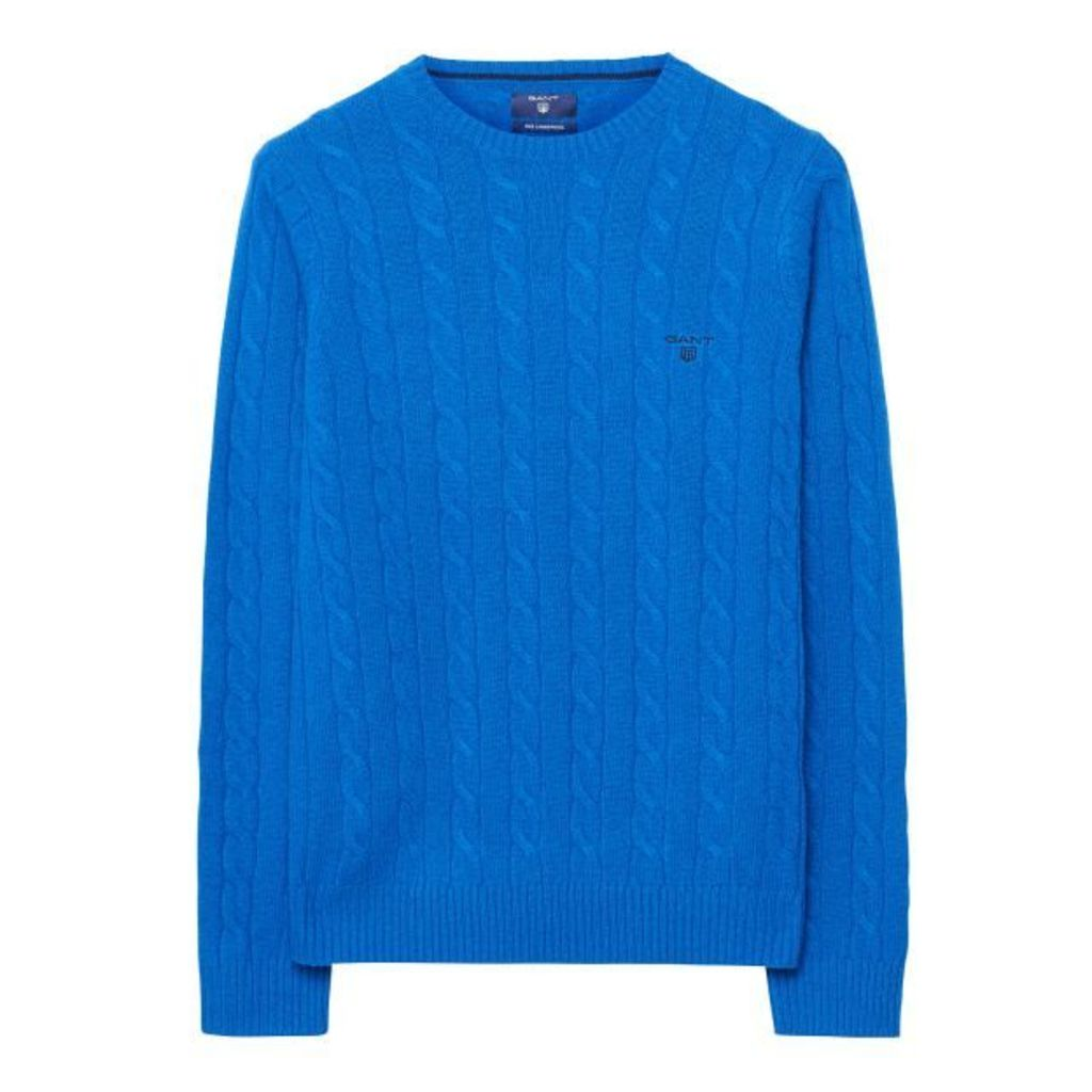 Lambswool Cable Crewneck Jumper - Nautical Blue
