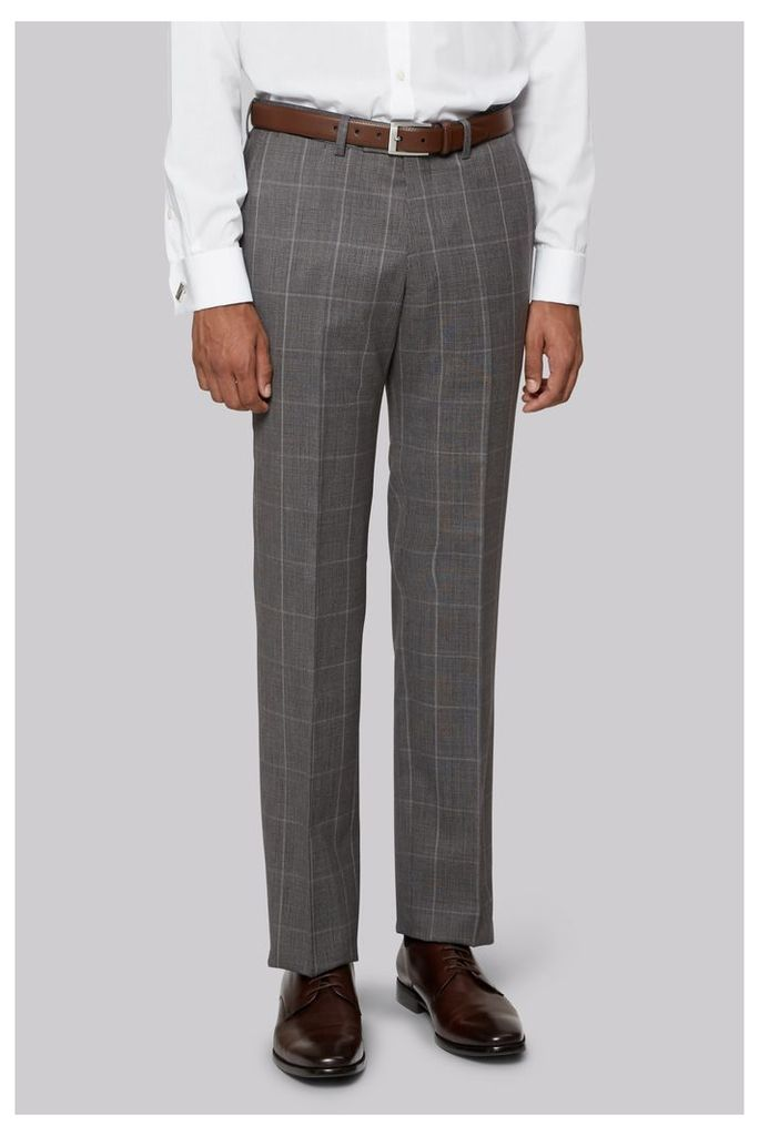 Hardy Amies Grey Prince of Wales Check Trousers