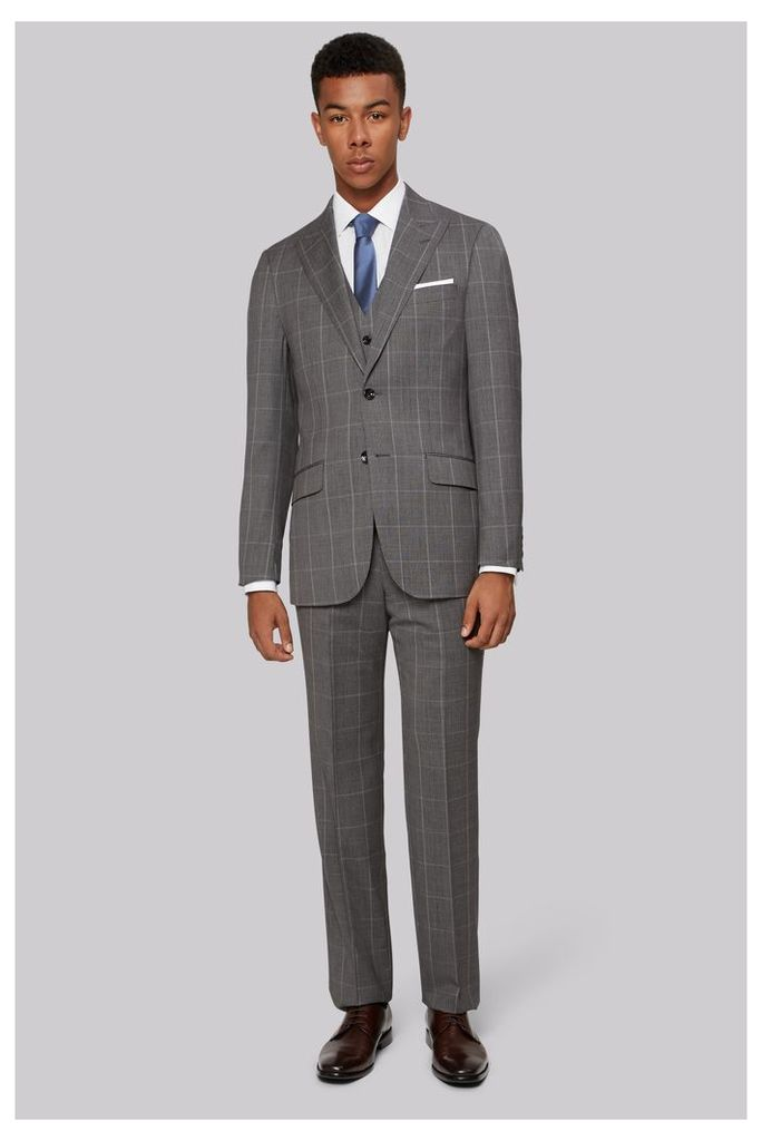 Hardy Amies Tailored Fit Grey Prince of Wales Check Jacket