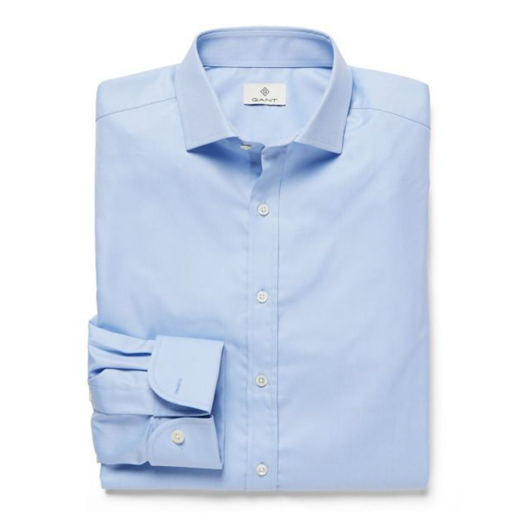 Luxe Twill Fitted Shirt - Hamptons Blue
