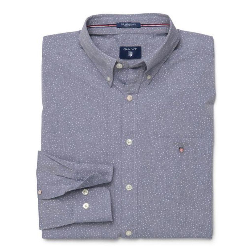 The Printed Poplin Shirt - Denim Blue Mel