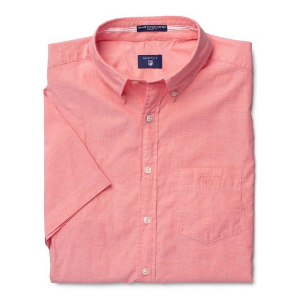 Short-sleeve Washed Pinpoint Oxford Shirt - Shell Pink