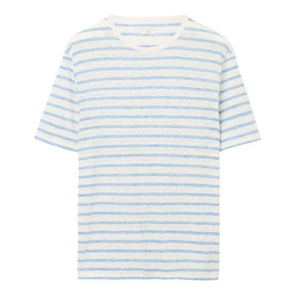 Striped Délavé Linen Tee - Nature White