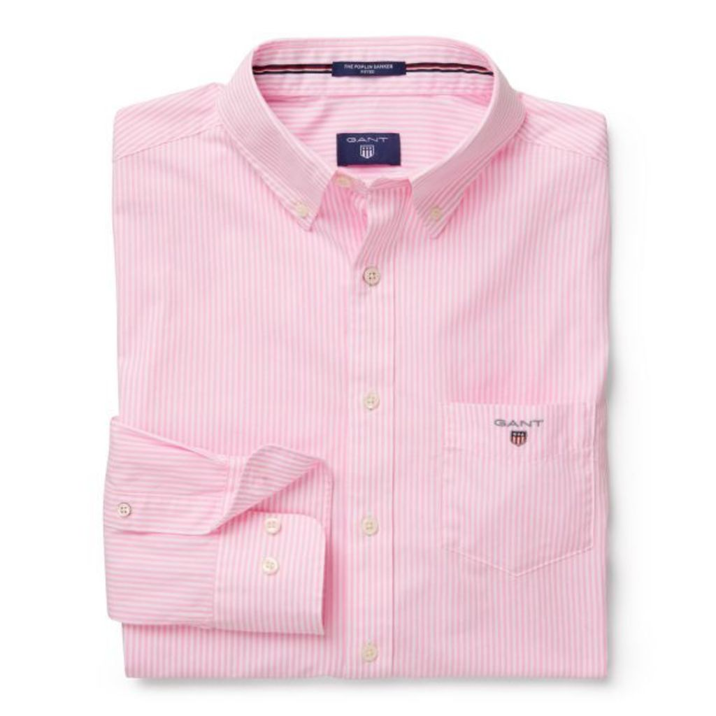 Banker Striped Fitted Shirt - Bright Pink