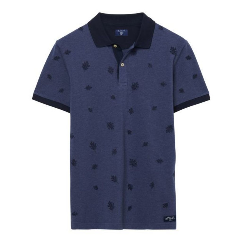 Leaf Polo Shirt - Persian Blue