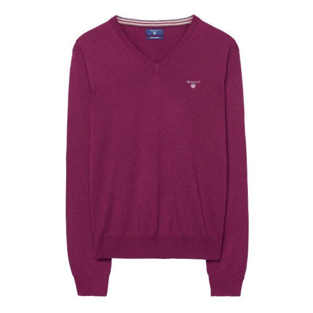 Cotton/wool Blend V-neck Jumper - Blackcurrant Melange