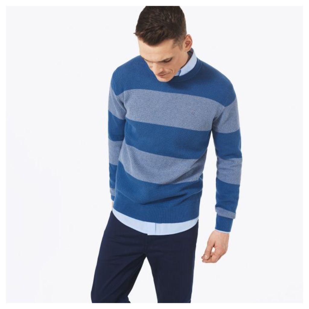 Stripe Texture Crewneck Jumper - Hurricane Blue