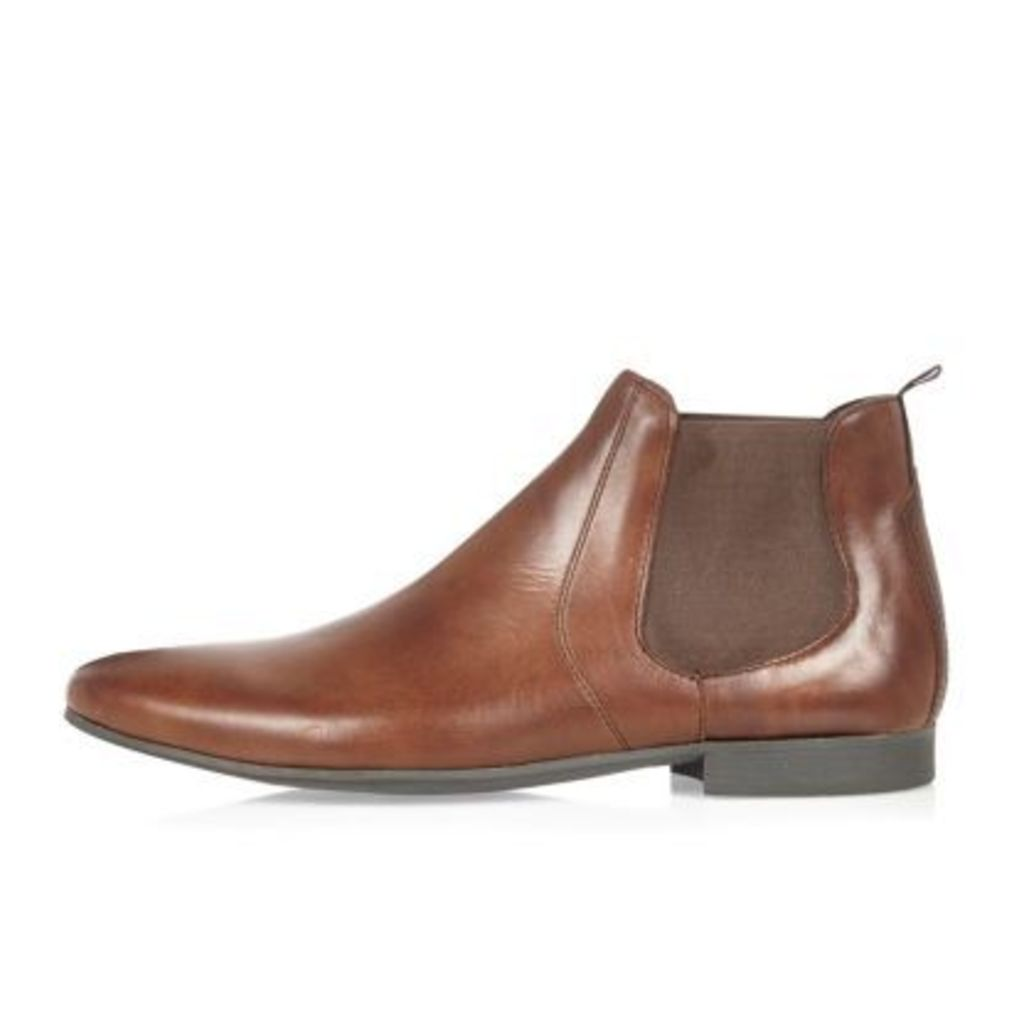 River Island Mens Brown leather Chelsea boots