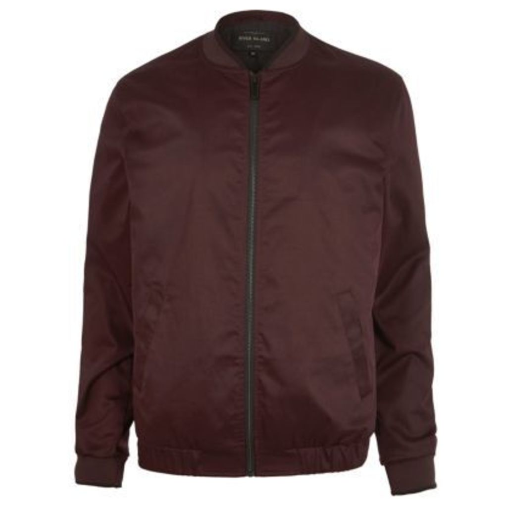River Island Mens Burgundy bomber jacket