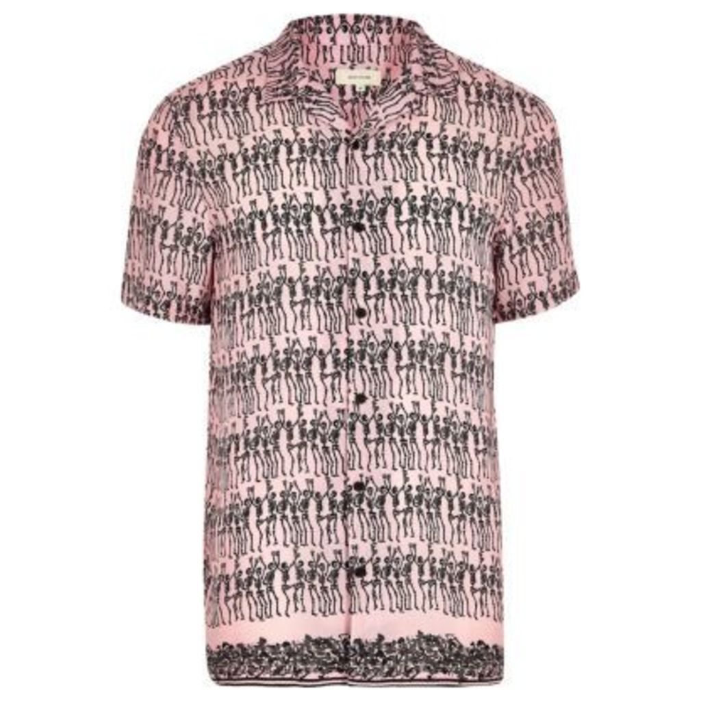 River Island Mens Pink skeleton print short sleeve shirt