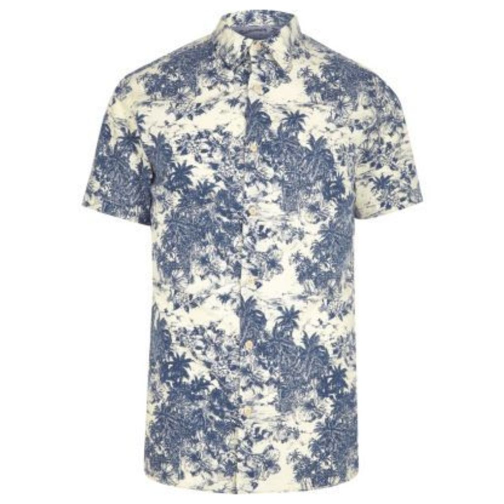 River Island Mens Blue Jack & Jones palm short sleeve shirt