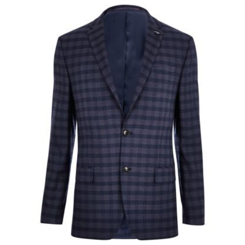 River Island Mens Blue check slim fit suit jacket