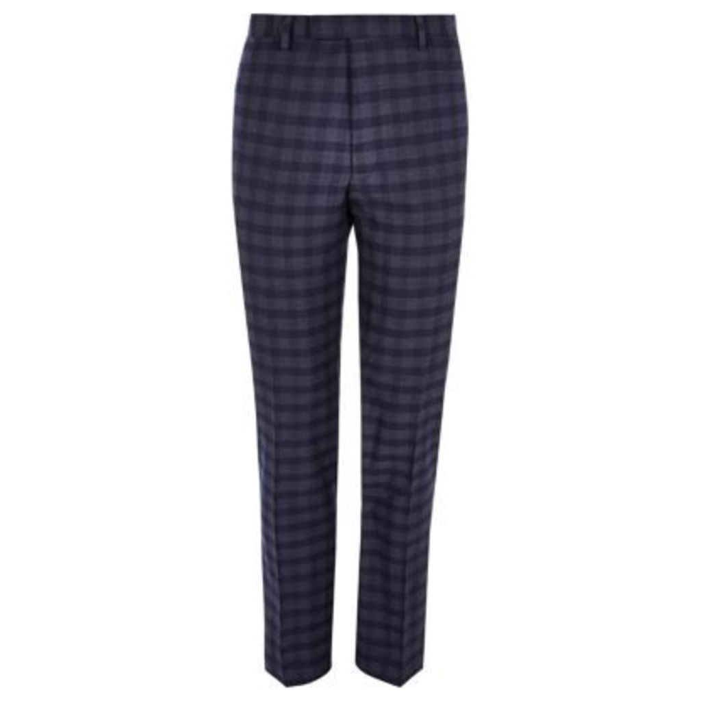 River Island Mens Blue check slim fit suit trousers