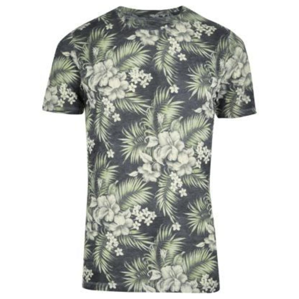 River Island Mens Green Jack & Jones Vintage tropical T-shirt
