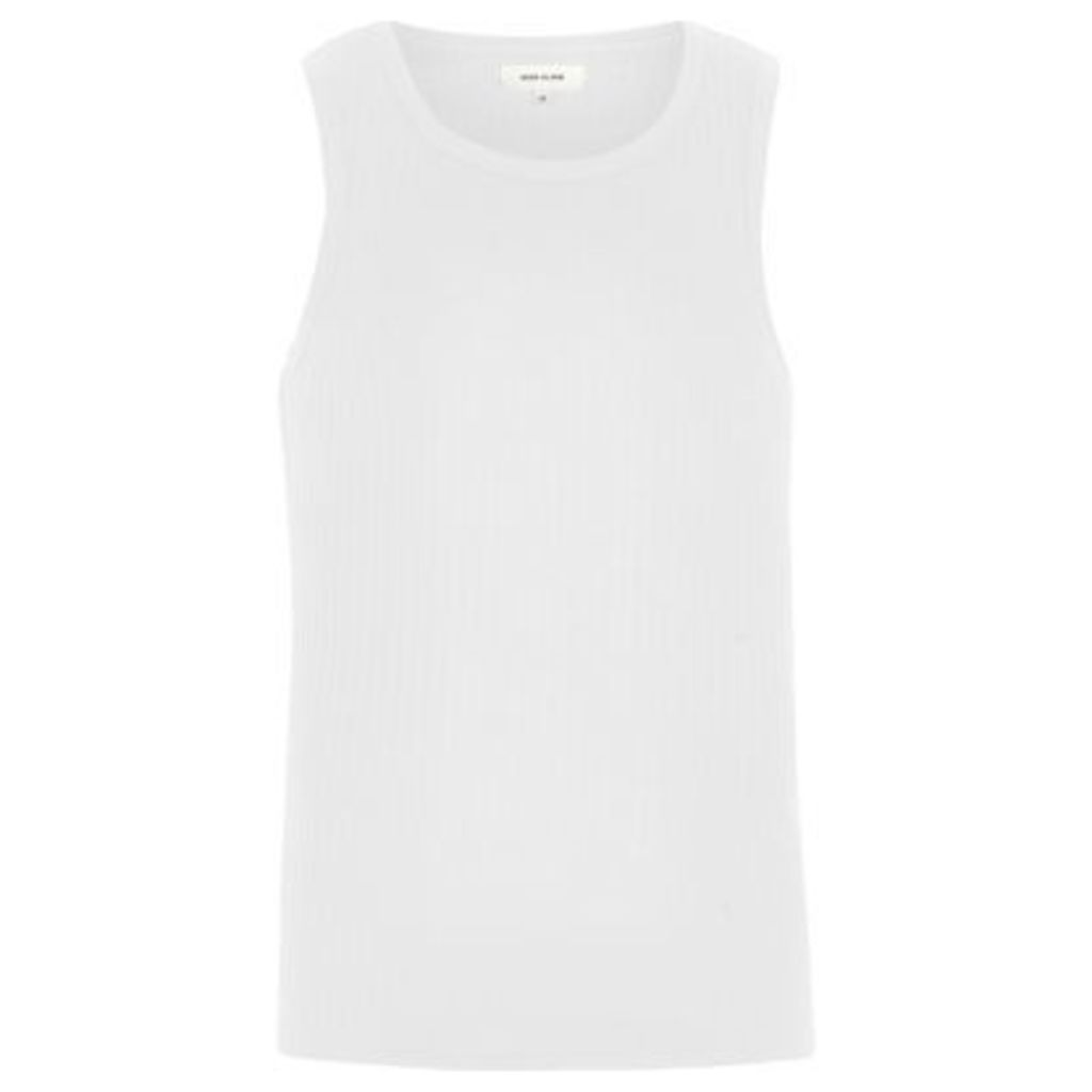 River Island Mens White ribbed slim fit vest