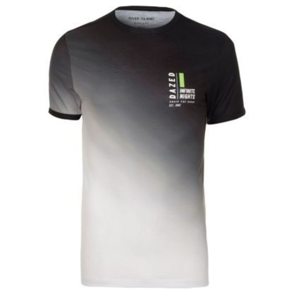 River Island Mens White and black fade print muscle fit T-shirt