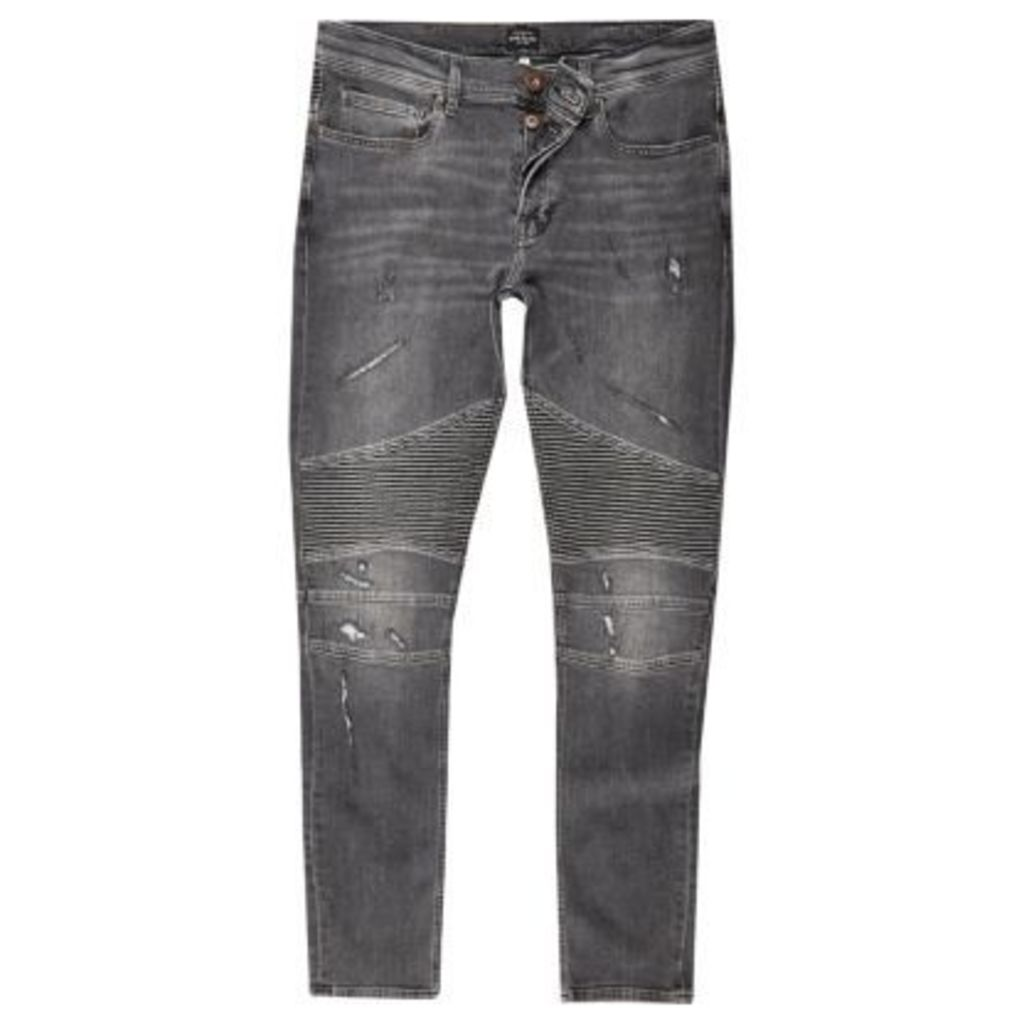 River Island Mens Black wash biker super skinny jeans