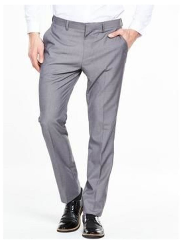 V by Very Slim Trouser - Grey, Grey, Size 34, Inside Leg Long, Men