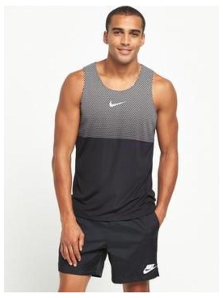 Nike City Core Running Tank, Black, Size M, Men